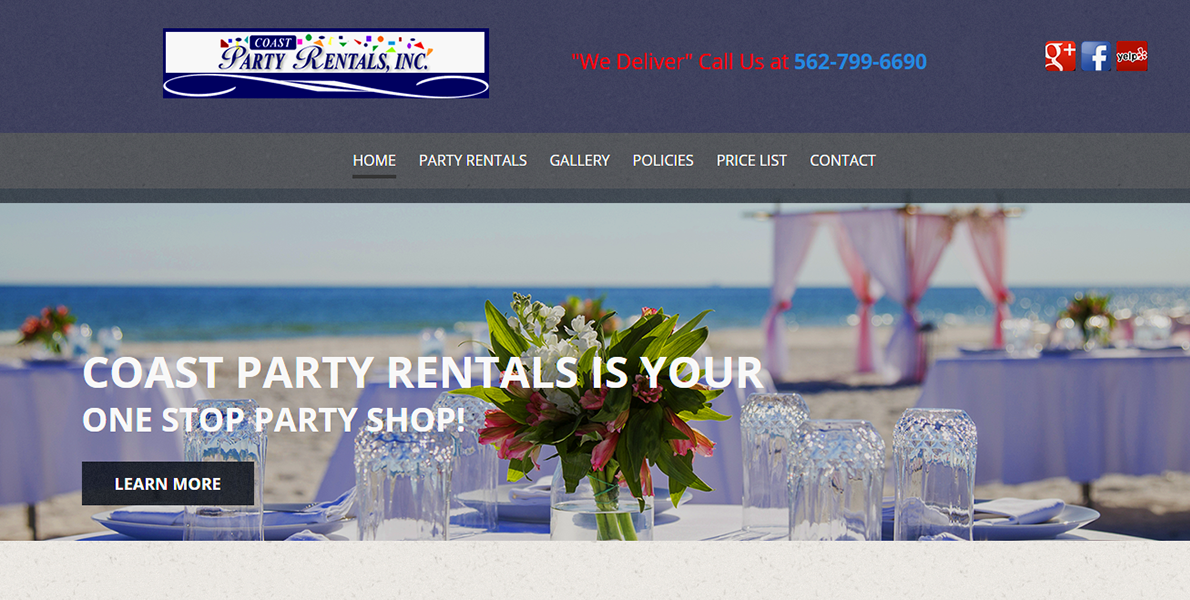 Web Handlers Portfolio Coast Party Rents
